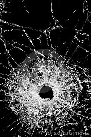 Broken glass isolated on black