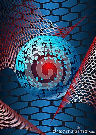 Broken globe in hex webs