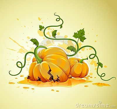 Broken halloween pumpkin on grunge background