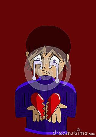 Sad boy with a broken heart in his hands