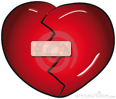 Broken heart with a band aid
