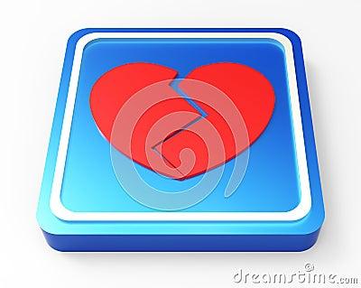 Broken Heart button 3D