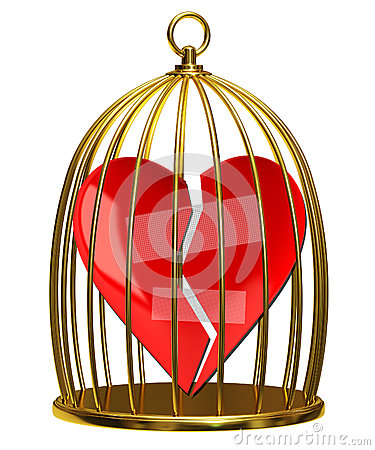 Broken heart in the cage