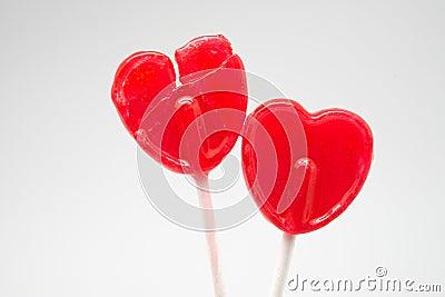 Broken heart red heart-lollipop Stock Photo