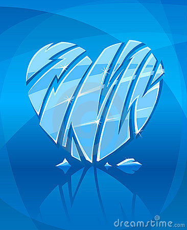 Broken icy heart on blue background