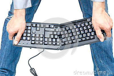 Broken keyboard in human hands isolated