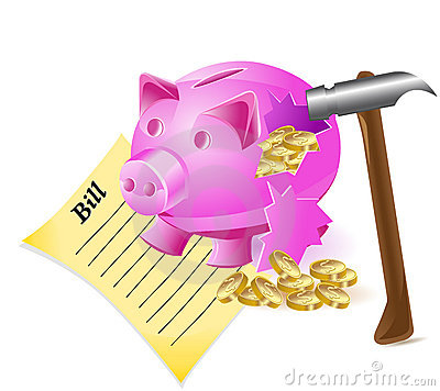 Broken money-box is a pig hammer bill and  coins