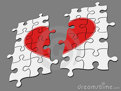 Broken mosaic from puzzles with symbol of heart