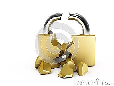 Broken padlock