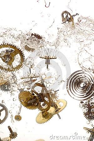 Broken parts of vintage watch