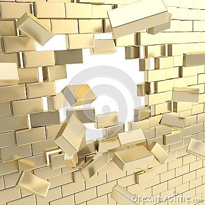 Broken into pieces brick wall
