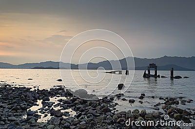 Broken Pier at Twilight