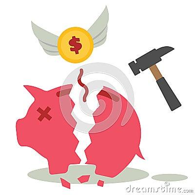 Free Broken Piggy Bank Royalty Free Stock Photo - 41852615