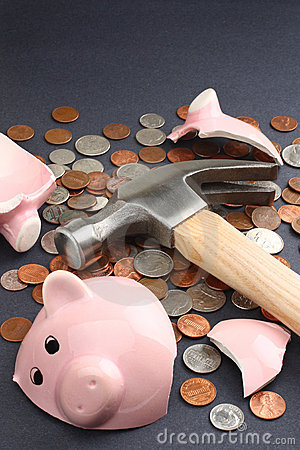 Broken piggy bank with savings money