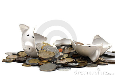 Broken Piggy Bank (on white)