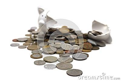 Broken Piggy Bank (on white)