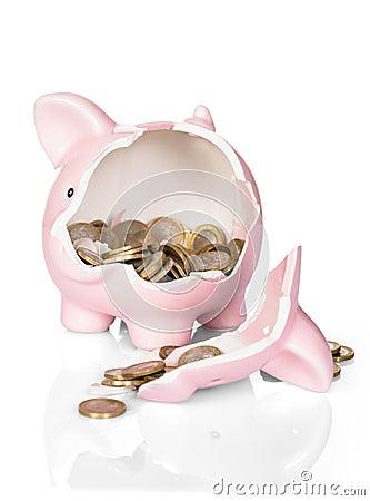 Free Broken Piggy Bank With Money Royalty Free Stock Photos - 50541098