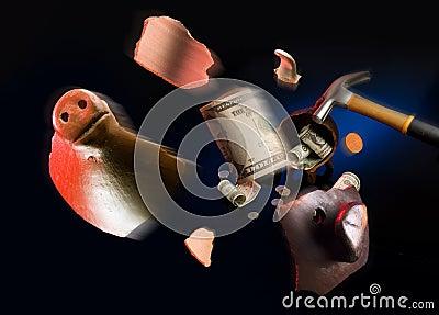 Broken piggy moneybox