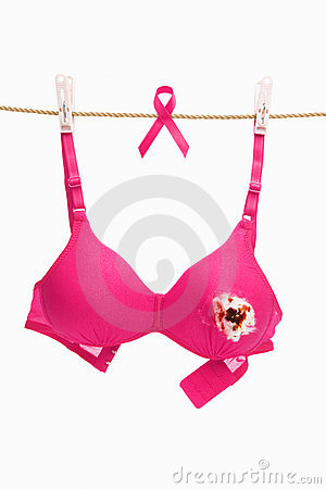 Broken pink bra & ribbon for breast cancer