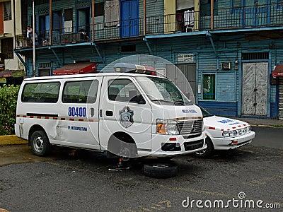 Broken police car in Panama Editorial Photo