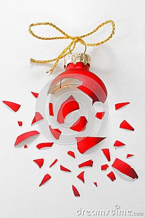 Free Broken Red Christmas Tree Ball Stock Photo - 48017570