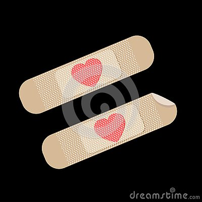 Broken red heart vector icon bandages plaster. Heart symbol Vector Illustration