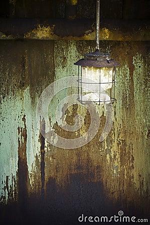 Broken and rusty lamp