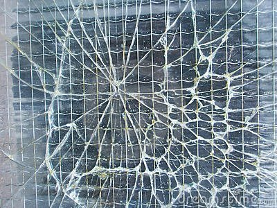 Broken safety wire glass background