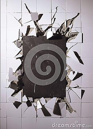 Broken wall tiles