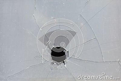Broken window, ugly hole in glass