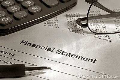 Brokerage Financial Statement with Pen and Glasses