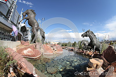 Broncos Sculpture at Sports Authority Field Editorial Stock Photo