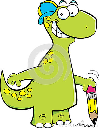 Brontosaurus holding a pencil