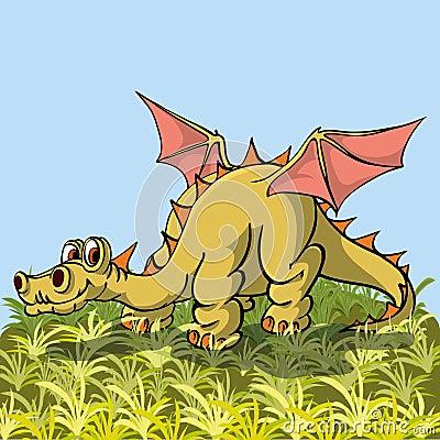 Brontosaurus with wings posuschiysya peacefully on