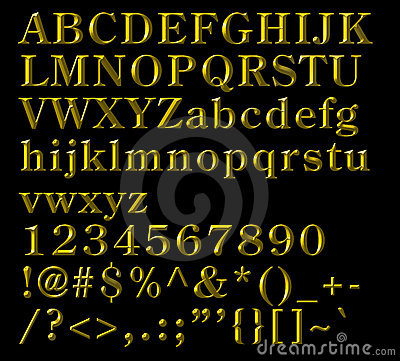 Bronze Alphabetical Letters, numbers and symbols