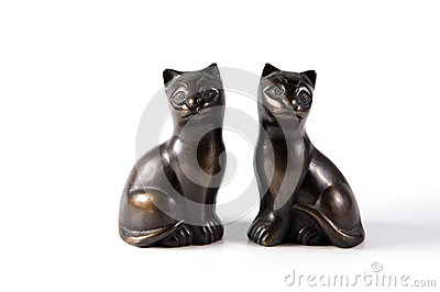 Bronze black cat statuettes
