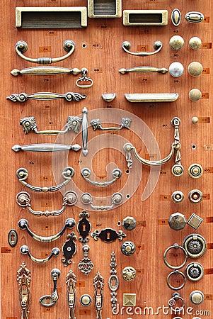 Bronze and brass door knobs