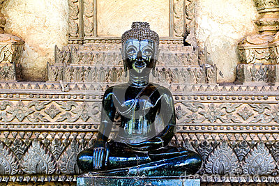 Bronze Buddha statue at the Haw Phra Kaew