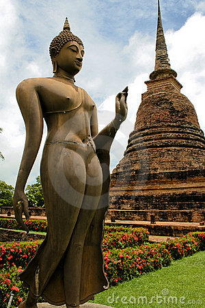 Bronze buddha statue Sukhothai temple thailand