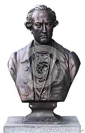 Bronze bust of Goethe isolate