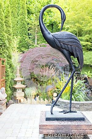 Bronze Crane Statue in Asian Inspired Garden