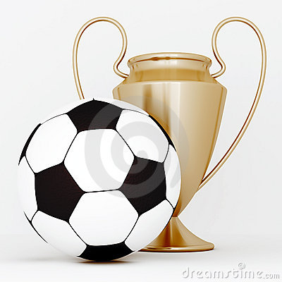 Bronze cup and soccer ball