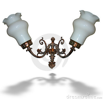 Bronze electric wall lamp isolated over white