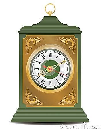 Bronze and green antique clock, vector