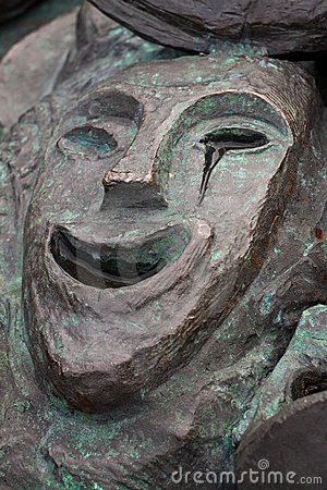Bronze Happy Theatre Mask Crying