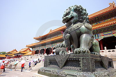 Bronze lion in Forbidden City Editorial Image