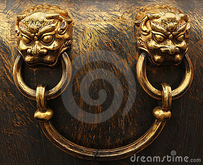 Bronze lion heads. Forbidden City in Beijing