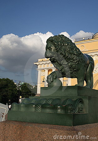 Bronze lion in the Petersburg