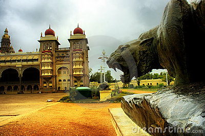 Bronze Lion statue Indian Mysore Palace