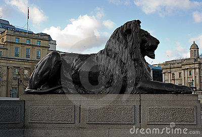 Bronze lion in Trafalgar Square